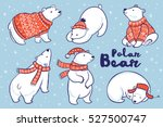 cute hand drawn polar bear set... | Shutterstock .eps vector #527500747