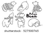 Outline Set Of Polar Bears In...