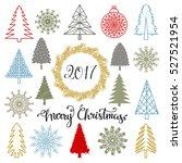 christmas set. trees ... | Shutterstock .eps vector #527521954