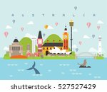 australia landmarks travel and... | Shutterstock .eps vector #527527429