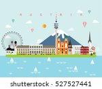 austria famous landmarks... | Shutterstock .eps vector #527527441