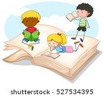 three kids reading storybook... | Shutterstock .eps vector #527534395
