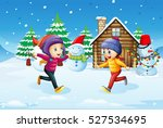 girls playing in snow field... | Shutterstock .eps vector #527534695