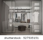 classic walk in closet with... | Shutterstock . vector #527535151