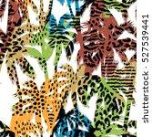 trendy seamless exotic pattern... | Shutterstock .eps vector #527539441