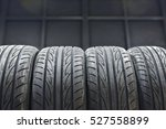 car tires at warehouse in tire...   Shutterstock . vector #527558899