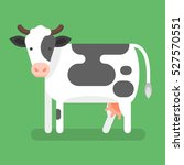 Stock vector vector flat style illustration of cow isolated on green background icon for web 527570551