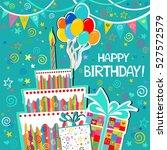 birthday card. celebration... | Shutterstock .eps vector #527572579