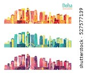 doha detailed skyline. vector... | Shutterstock .eps vector #527577139