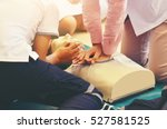 cpr training medical procedure  ... | Shutterstock . vector #527581525