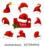 christmas santa hat isolated... | Shutterstock .eps vector #527594941