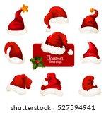 christmas santa hat isolated... | Shutterstock .eps vector #527594941