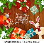 christmas gift on wooden... | Shutterstock .eps vector #527595811
