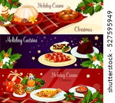 christmas holiday cuisine... | Shutterstock .eps vector #527595949