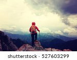 successful woman backpacker... | Shutterstock . vector #527603299