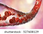 blood vessel with flowing blood ... | Shutterstock . vector #527608129