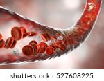 blood vessel with flowing blood ... | Shutterstock . vector #527608225