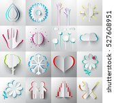 paper cut vector icons  ... | Shutterstock .eps vector #527608951