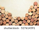 Small photo of Wine corks on paper background for your text. Wall of many different wine corks with space for text. Closeup of wine corks with blurred background. Close up of cork wine on brown paper background.