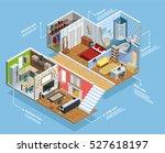 interior isometric composition... | Shutterstock .eps vector #527618197