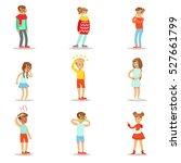 sick children feeling unwell... | Shutterstock .eps vector #527661799