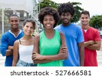 group of relaxed mixed young... | Shutterstock . vector #527666581
