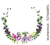 purple yellow watercolor floral ... | Shutterstock . vector #527666851