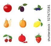 orchard fruits icons set.... | Shutterstock .eps vector #527673181