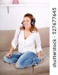 beautiful cheerful woman... | Shutterstock . vector #527677645