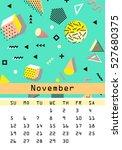 calendar 2017. november. retro... | Shutterstock .eps vector #527680375