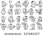 black and white cartoon... | Shutterstock .eps vector #527681527
