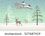 winter landscape with deers... | Shutterstock .eps vector #527687419