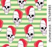 Skull In Santa Hat   Vector...
