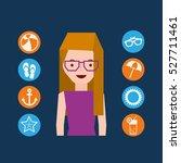 girl glasses character summer... | Shutterstock .eps vector #527711461