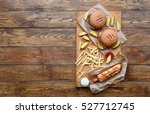 fast food dish top view.... | Shutterstock . vector #527712745