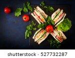club sandwich with ham  bacon ... | Shutterstock . vector #527732287
