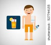 man cocktail shorts towel beach ... | Shutterstock .eps vector #527744155