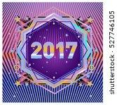 happy new year 2017 hexagonal... | Shutterstock .eps vector #527746105