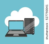 cloud laptop data server vector ... | Shutterstock .eps vector #527750041