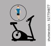 sport man running static bike... | Shutterstock .eps vector #527754877