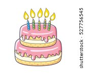 birthday cake with candles... | Shutterstock .eps vector #527756545