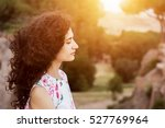young woman with closed eyes... | Shutterstock . vector #527769964