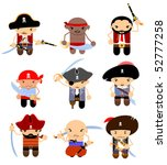 set of cartoon pirates | Shutterstock .eps vector #52777258
