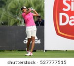Small photo of KUALA LUMPUR, MALAYSIA - OCTOBER 29, 2016: Aditi Ashok of India tees off at the TPC Golf Course on Round 3 of the 2016 Sime Darby LPGA Malaysia golf tournament.