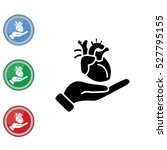 web icon. human heart in hand | Shutterstock .eps vector #527795155