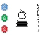web line icon. apple on books ... | Shutterstock .eps vector #527807455