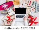 christmas online shopping top... | Shutterstock . vector #527818981