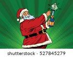 santa claus opens a bottle of...   Shutterstock .eps vector #527845279