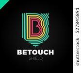 b letter line logo in shield.... | Shutterstock .eps vector #527845891