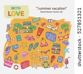 summer vacation icon set. hand... | Shutterstock .eps vector #527851321